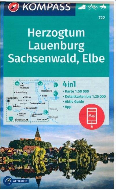 KP-722 Herzogtum Lauenburg, Sachsenwald, Elbe | Kompass wandelkaart 9783990447369  Kompass Wandelkaarten Kompass Duitsland  Wandelkaarten Schleswig-Holstein, Lübeck