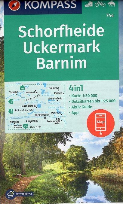 KP-744 Schorfheide/Uckermark | Kompass wandelkaart 9783990447390  Kompass Wandelkaarten Kompass Duitsland  Wandelkaarten Brandenburg & Sachsen-Anhalt