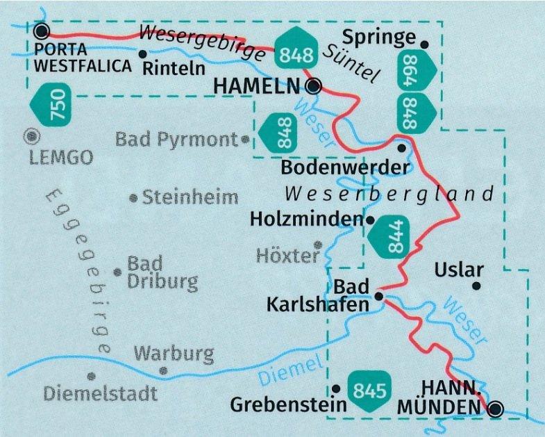 KP-819 Weserbergland-Weg   Kompass 9783990447505  Kompass Wandelkaarten Kompass Duitsland  Wandelkaarten Hannover, Weserbergland