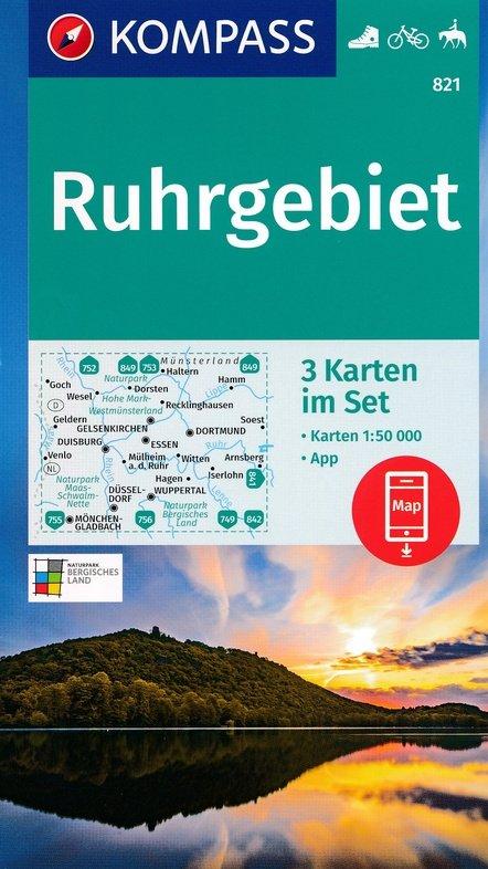 KP-821 Ruhrgebiet 1:50.000 | Kompass 9783990447512  Kompass Wandelkaarten Kompass Duitsland  Wandelkaarten Ruhrgebied