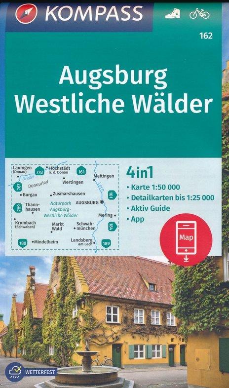 KP-162 Augsburg, Westliche Wälder | Kompass wandelkaart 1:50.000 9783990448359  Kompass Wandelkaarten Kompass Duitsland  Wandelkaarten Romantische Strasse, Schwaben