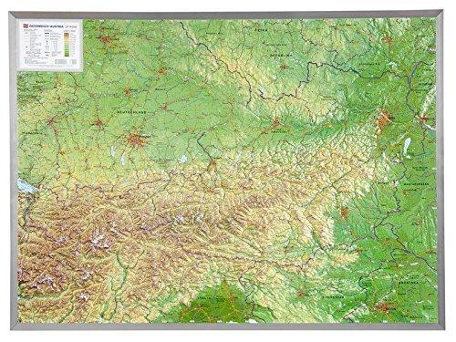 Oostenrijk 3-dimensionale reliefkaart 1:800.000, aluminium lijst 4280000002501  Georelief   Restaurantgidsen Oostenrijk