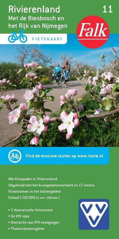 FFK-11  Rivierenland | VVV fietskaart 1:50.000 9789028701069  Falk Fietskaarten met Knooppunten  Fietskaarten Nijmegen en het Rivierengebied