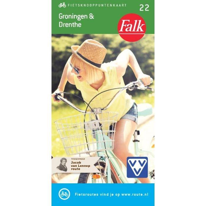 FKP-22 Groningen & Drenthe fietskaart 1:90.000 9789028730342  Falk Fietsknooppuntenkaart  Fietskaarten Drenthe, Groningen