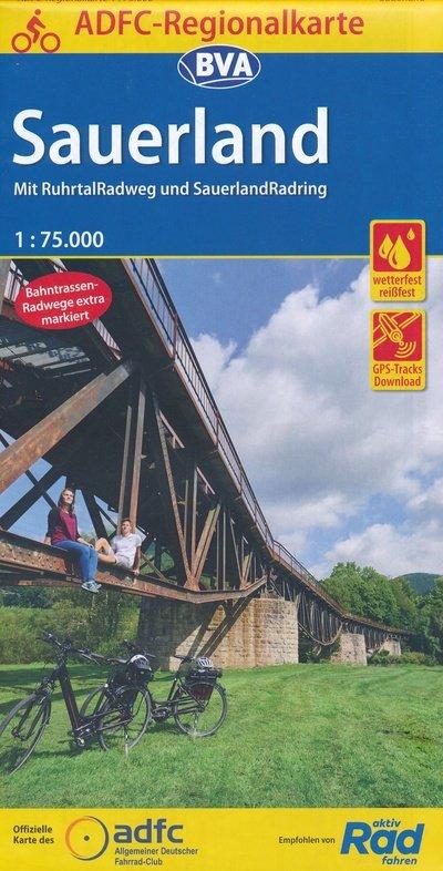 Sauerland fietskaart 1:75.000 9783870739300  BVA ADFC Regionalkarte  Geen categorie Noord- en Midden-Hessen, Kassel