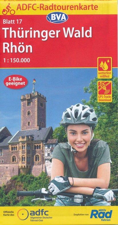 ADFC-17 Thüringer Wald/Rhön | fietskaart 1:150.000 9783870739492  ADFC / BVA Radtourenkarten 1:150.000  Fietskaarten Thüringen, Weimar, Rennsteig