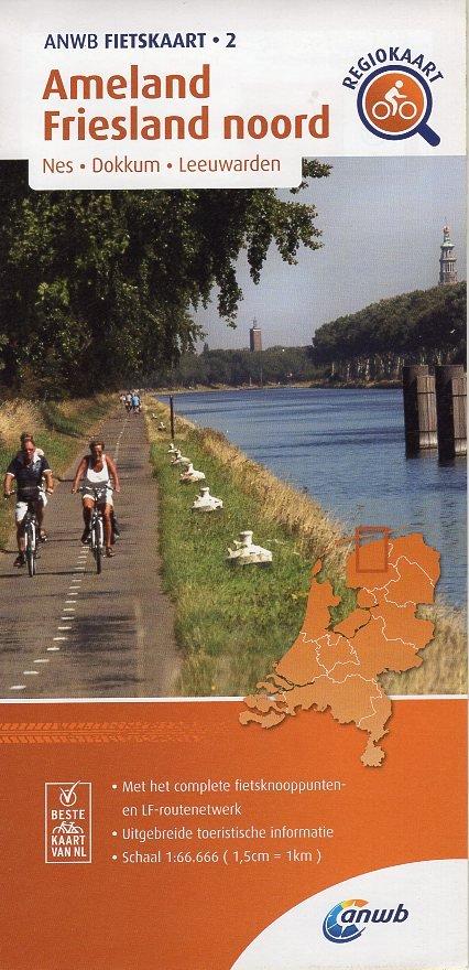AF-02 Ameland / Friesland noord | ANWB fietskaart 1:66.666 9789018047030  ANWB ANWB fietskaarten 1:66.666  Fietskaarten Friesland, Waddeneilanden en Waddenzee