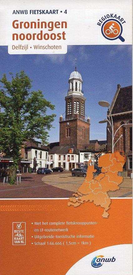AF-04 Groningen noordoost   ANWB fietskaart 1:66.666 9789018047054  ANWB ANWB fietskaarten 1:66.666  Fietskaarten Groningen