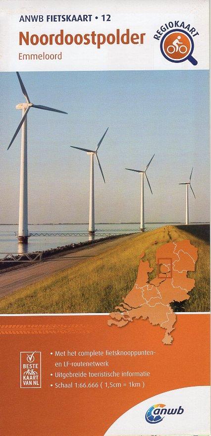 AF-12 Noordoostpolder | ANWB fietskaart 1:66.666 9789018047139  ANWB ANWB fietskaarten 1:66.666  Fietskaarten Flevoland en het IJsselmeer