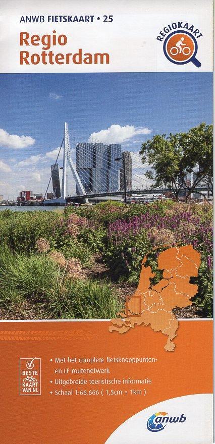 AF-25 regio Rotterdam | ANWB fietskaart 1:66.666 9789018047269  ANWB ANWB fietskaarten 1:66.666  Fietskaarten Den Haag, Rotterdam en Zuid-Holland