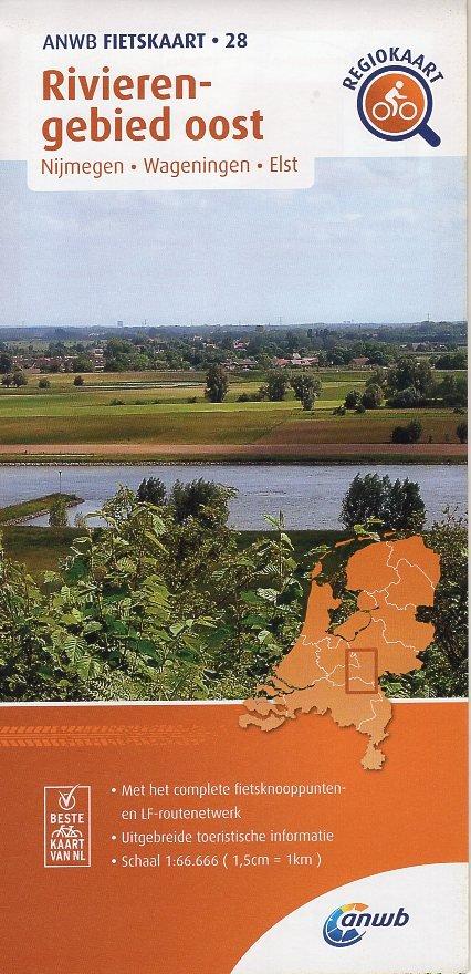 AF-28 Rivierengebied Oost | ANWB fietskaart 1:66.666 9789018047290  ANWB ANWB fietskaarten 1:66.666  Fietskaarten Nijmegen en het Rivierengebied