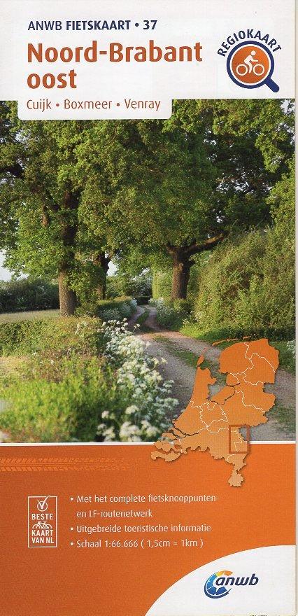 AF-37 Noord-Brabant Oost | ANWB fietskaart 1:66.666 9789018047382  ANWB ANWB fietskaarten 1:66.666  Fietskaarten Noord- en Midden-Limburg, Noord-Brabant