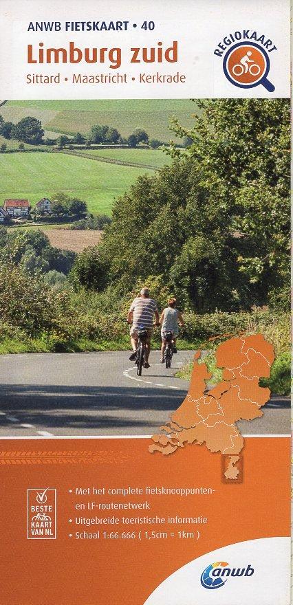 AF-40 Limburg Zuid | ANWB fietskaart 1:66.666 9789018047412  ANWB ANWB fietskaarten 1:66.666  Fietskaarten Maastricht en Zuid-Limburg