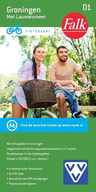 FFK-01  Groningen | VVV fietskaart 1:50.000 9789028701014  Falk Fietskaarten met Knooppunten  Fietskaarten Groningen
