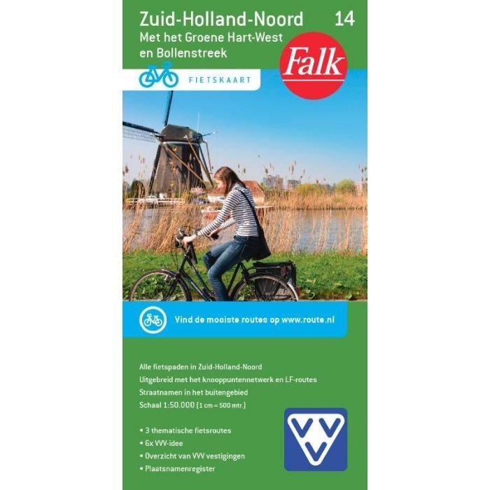FFK-14 Zuid Holland noord   VVV fietskaart 1:50.000 9789028701083  Falk Fietskaarten met Knooppunten  Fietskaarten Den Haag, Rotterdam en Zuid-Holland