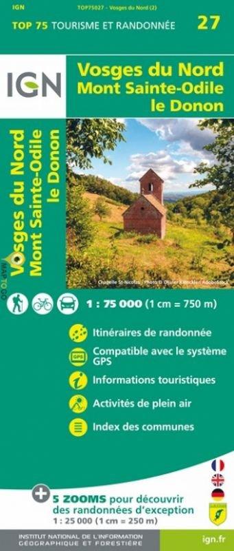 Vosges du Nord | IGN overzichts- en wandelkaart 9782758549734  IGN TOP 75  Fietskaarten, Lopen naar Rome, Wandelkaarten Vogezen