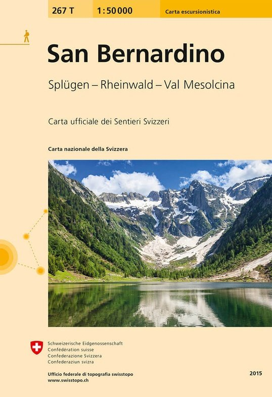 267T  San Bernardino [2015] 9783302302676  Bundesamt / Swisstopo SAW 1:50.000  Wandelkaarten Graubünden, Tessin