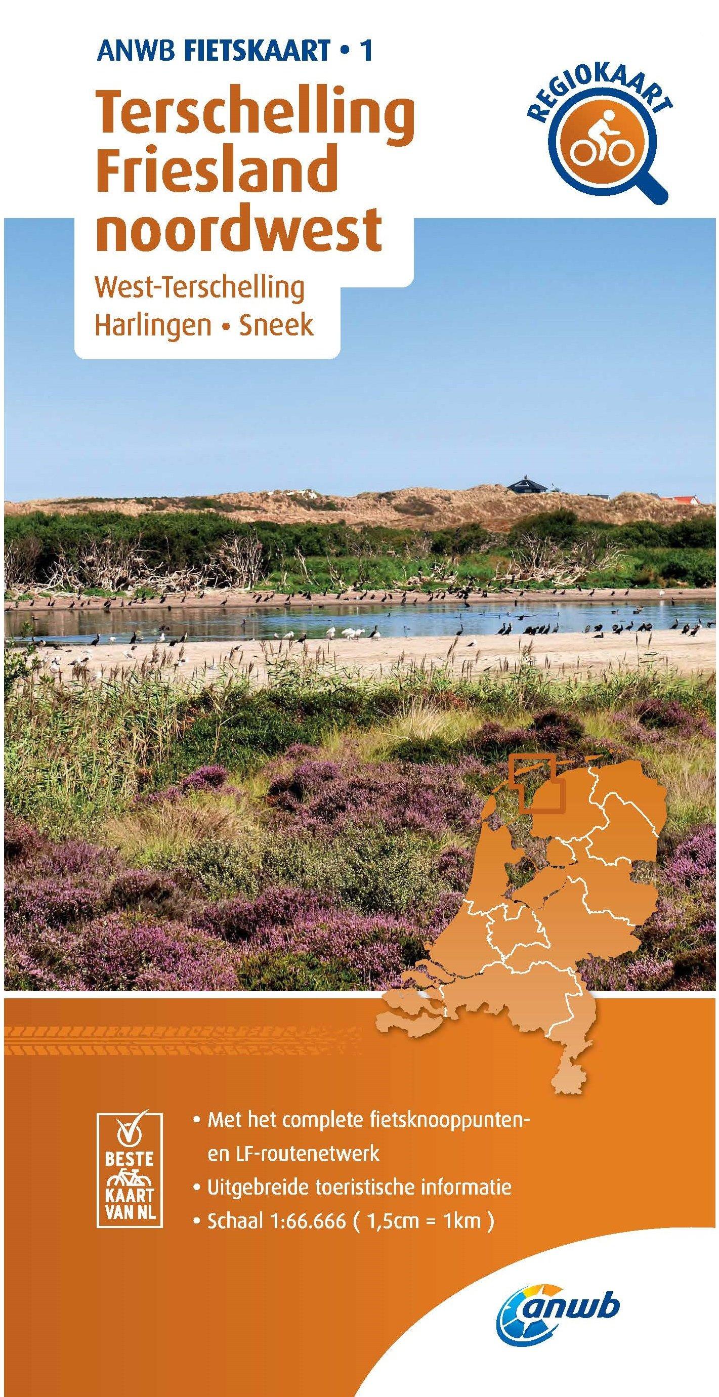 AF-01 Terschelling / Friesland noordwest | ANWB fietskaart 1:66.666 9789018047023  ANWB ANWB fietskaarten 1:66.666  Fietskaarten Friesland, Waddeneilanden en Waddenzee
