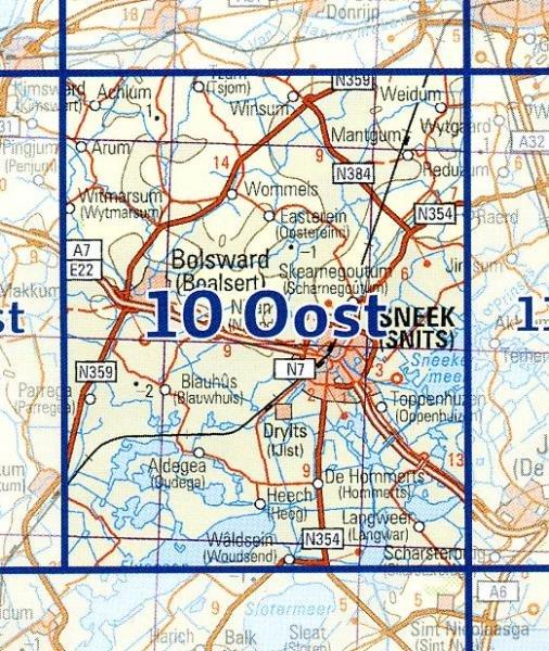 10 Oost 9789035001091  Topografische Dienst / Kadaster Ned. 1:50.000  Wandelkaarten Friesland