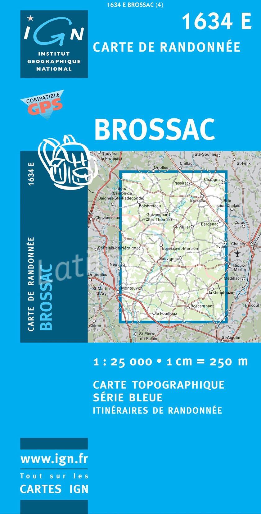 1634E Brossac 3282111634245  IGN Serie Bleue  Wandelkaarten Loire Atlantique, Charente, Vendée