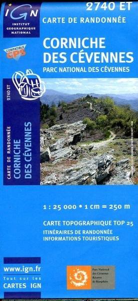 2740ET  Corniche-des-Cévennes   wandelkaart 1:25.000 3282112740532  IGN TOP 25  Wandelkaarten Cevennen, Lozère, Gard en Aveyron