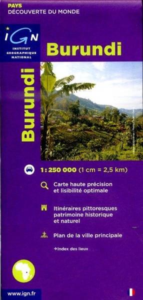 Burundi 1:250.000 3282118501311  IGN   Landkaarten en wegenkaarten Uganda, Rwanda, Burundi, Ruwenzorigebergte