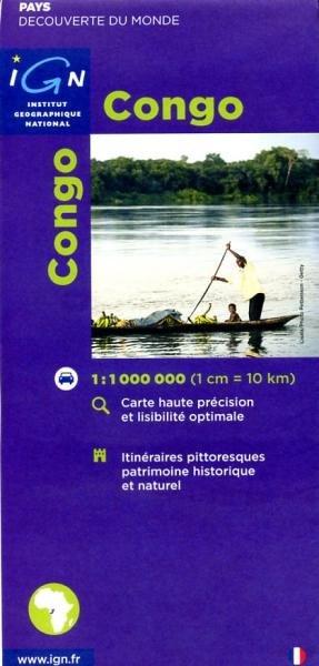 Congo (Congo-Brazzaville) 1:1.000.000 3282118501519  IGN   Landkaarten en wegenkaarten Centraal-Afrika: Kameroen, Centraal-Afrikaanse Republiek, Equatoriaal Guinee, Gabon, Congo