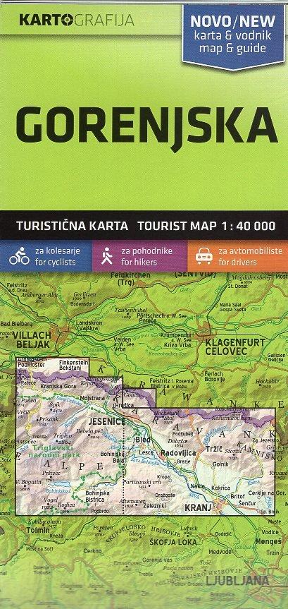 Gorenjska   wandelkaart 1:40.000 + gids 3830048522502  Kartografija   Wandelkaarten Slovenië