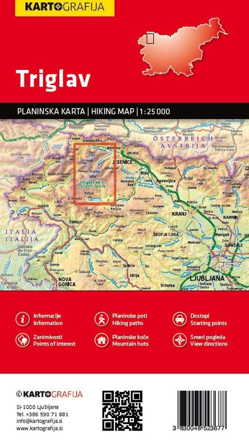 Triglav | wandelkaart 1:25.000 3830048523677  Kartografija   Wandelkaarten Slovenië