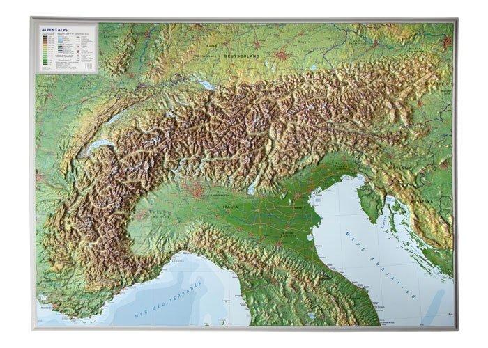 Alpen, 3-dimensionale reliefkaart 1:1.200.000, aluminium lijst 4280000002457  Georelief   Wandkaarten, Cadeau-artikelen Zwitserland en Oostenrijk (en Alpen als geheel)