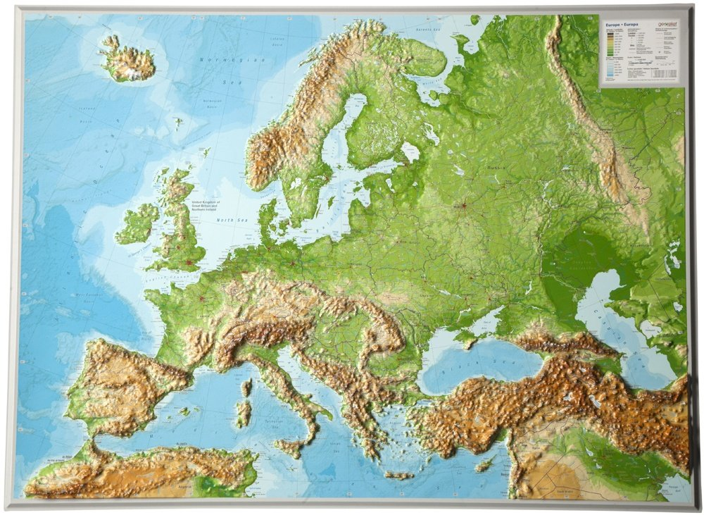 Reliëfkaart Europa 1:8.000.000 (77x55cm, €125,-) 4280000664396  Georelief   Wandkaarten Europa
