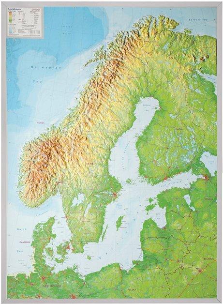 Reliëfkaart van Scandinavië 1:2.900.000 4280000664716  Georelief   Wandkaarten Scandinavië & de Baltische Staten