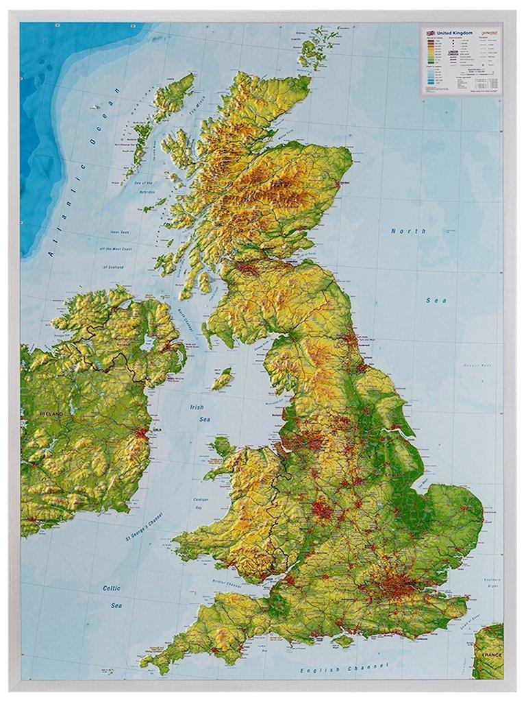 Groot-Brittannië 1:1.400.000   3D reliëfkaart 4280000664983  Georelief   Wandkaarten Groot-Brittannië
