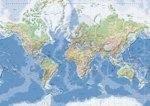 [15] Wereld Natuurkundig 1:30.000.000 gelamineerd 5425013060042  Kümmerly & Frey   Wandkaarten Wereld als geheel