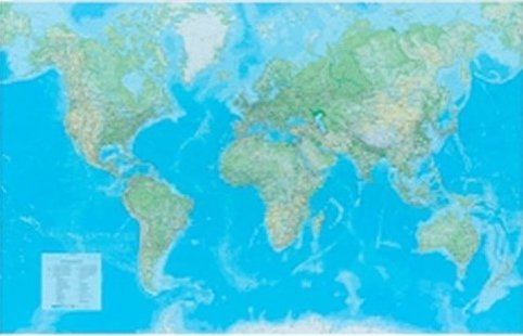 [15a] Wereld Natuurkundig 1:30milj. Metalen latjes 5425013060349  Kümmerly & Frey   Wandkaarten Wereld als geheel