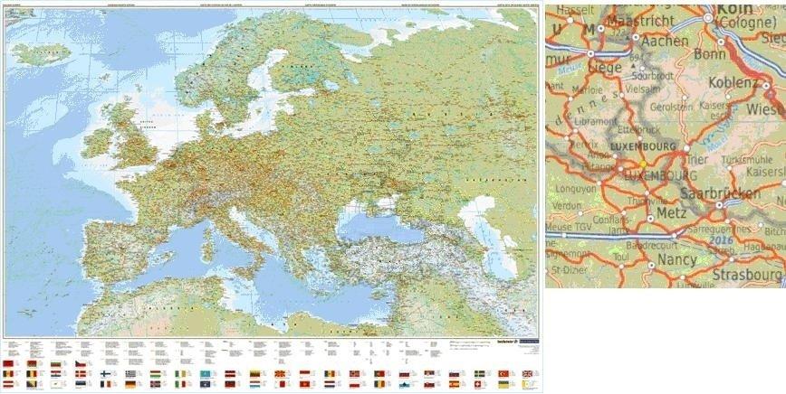 Europa Natuurkundig PLANO 1:4.500.000 geplastificeerd 5425013063364  Kümmerly & Frey   Wandkaarten Europa