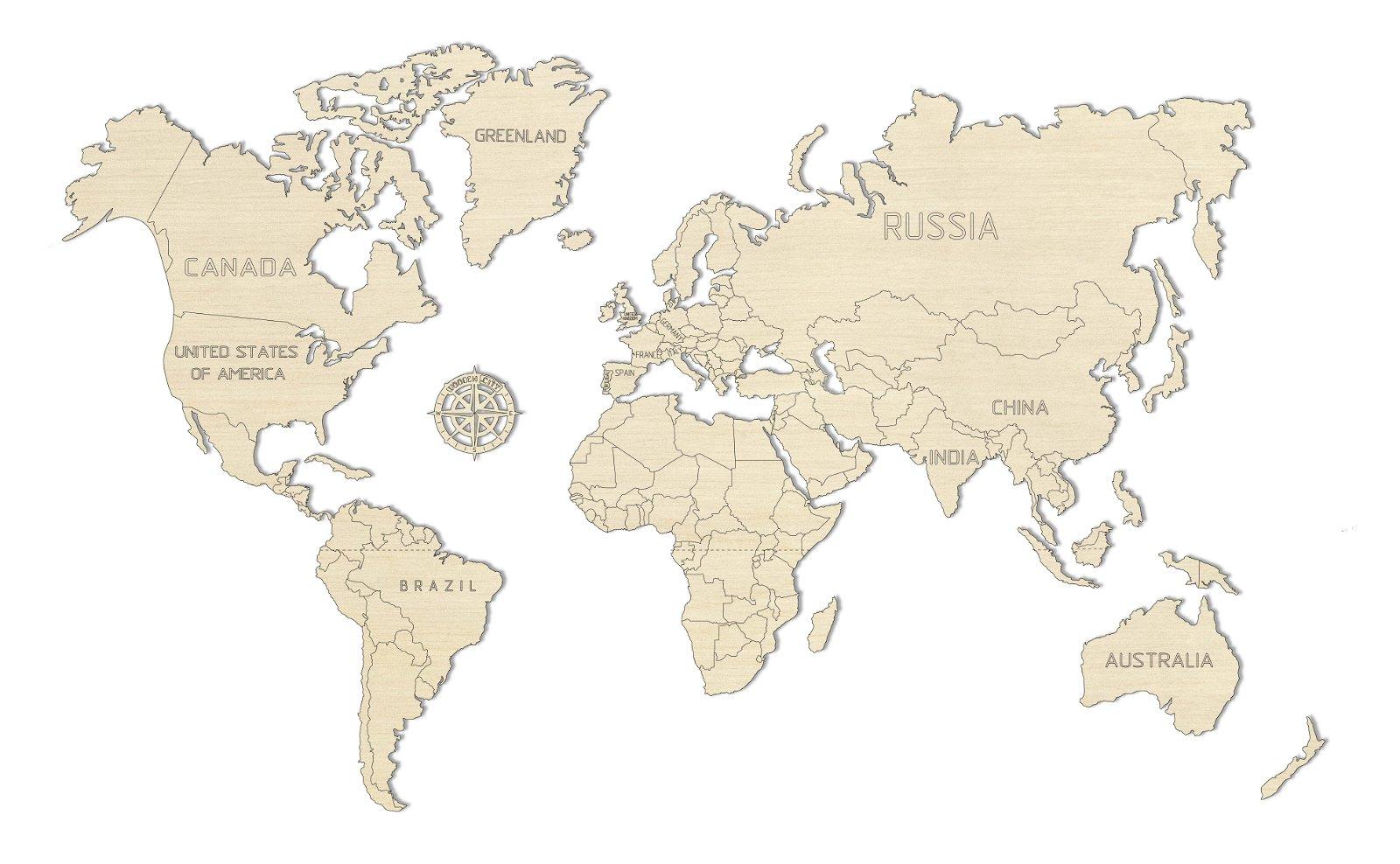 Houten Wereldkaart  (M, Medium) 5906874128138  Wooden City   Wandkaarten Wereld als geheel