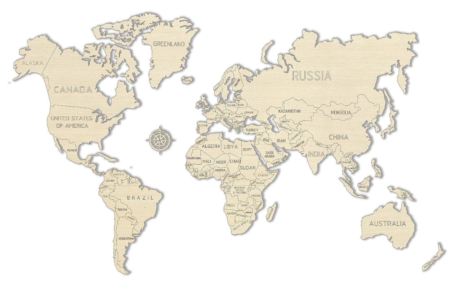 Houten Wereldkaart (L, Large) 5906874128145  Wooden City   Wandkaarten Wereld als geheel