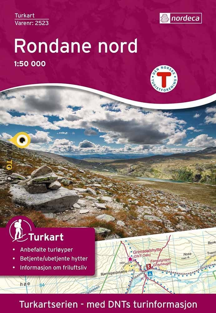 UG-2523  Rondane Nord | topografische wandelkaart 1:50.000 7046660025239  Nordeca / Ugland Turkart Norge 1:50.000  Wandelkaarten Noorwegen boven de Sognefjord