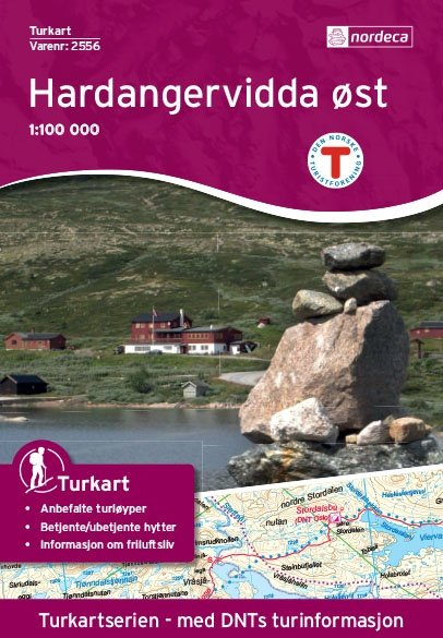 UG-2556  Hardangervidda Ost 1:100.000 7046660025567  Nordeca / Ugland Turkart Norge 1:100.000  Wandelkaarten Zuid-Noorwegen