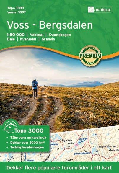 UG-3007 Voss - Bergsdalen | topografische wandelkaart 1:50.000 7046660030073  Nordeca / Ugland Topo 3000  Wandelkaarten Zuid-Noorwegen