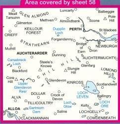 LR-058  Perth + Alloa, Auchterarder | topografische wandelkaart 9780319226582  Ordnance Survey Landranger Maps 1:50.000  Wandelkaarten de Schotse Hooglanden (ten noorden van Glasgow / Edinburgh)