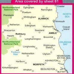 LR-081  Alnwick, Morpeth | topografische wandelkaart 9780319228722  Ordnance Survey Landranger Maps 1:50.000  Wandelkaarten Noord-Engeland