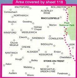 LR-118  Stoke-on-Trent + Macclesfield | topografische wandelkaart 9780319229064  Ordnance Survey Landranger Maps 1:50.000  Wandelkaarten Midden- en Oost-Engeland