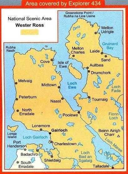 EXP-434  Gairloch + Loch Ewe   wandelkaart 1:25.000 9780319239698  Ordnance Survey Explorer Maps 1:25t.  Wandelkaarten Schotland