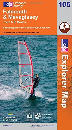 EXP-105  Falmouth + Mevagissey | wandelkaart 1:25.000 9780319241189  Ordnance Survey Explorer Maps 1:25t.  Wandelkaarten Zuidwest-Engeland