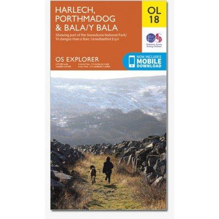 EXP-018  Snowdonia, Harlech, Bala Areas | wandelkaart 1:25.000 9780319242575  Ordnance Survey Explorer Maps 1:25t.  Wandelkaarten Noord-Wales, Anglesey, Snowdonia