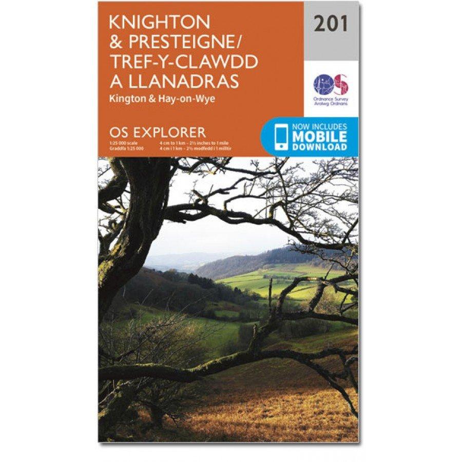 EXP-201 Knighton and Presteigne | wandelkaart 1:25.000 9780319243947  Ordnance Survey Explorer Maps 1:25t.  Wandelkaarten Zuid-Wales, Pembrokeshire, Brecon Beacons