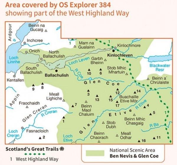 EXP-384  Glen Coe & Glen Etive | wandelkaart 1:25.000 9780319246306  Ordnance Survey Explorer Maps 1:25t.  Wandelkaarten de Schotse Hooglanden (ten noorden van Glasgow / Edinburgh)