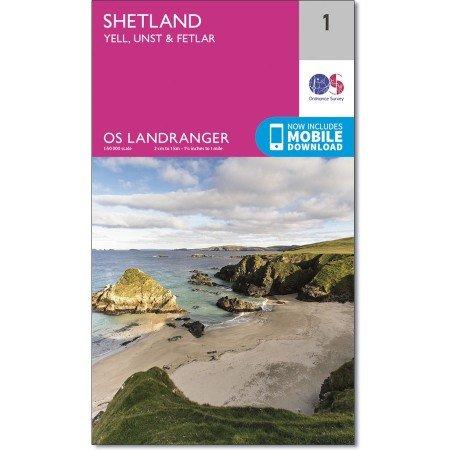 LR-001  Shetland - Yell & Unst | topografische wandelkaart 9780319260999  Ordnance Survey Landranger Maps 1:50.000  Wandelkaarten Shetland & Orkney